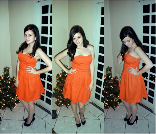 collage orange dress